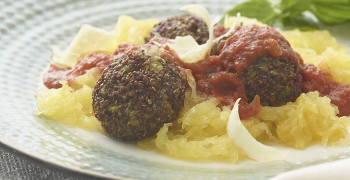 Red Quinoa Meatballs with Spaghetti Squash